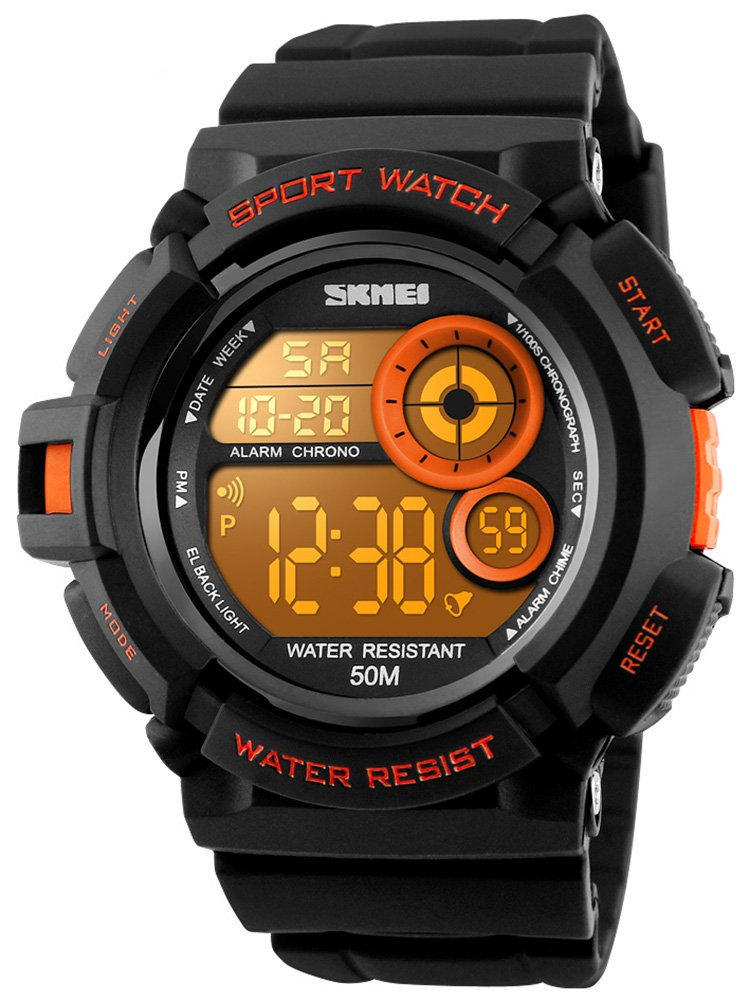 Mens Multi Function Digital Alarm Stopwatch LED Backlight Quartz Watches 50M Waterproof Electronic Sports Watch Orange