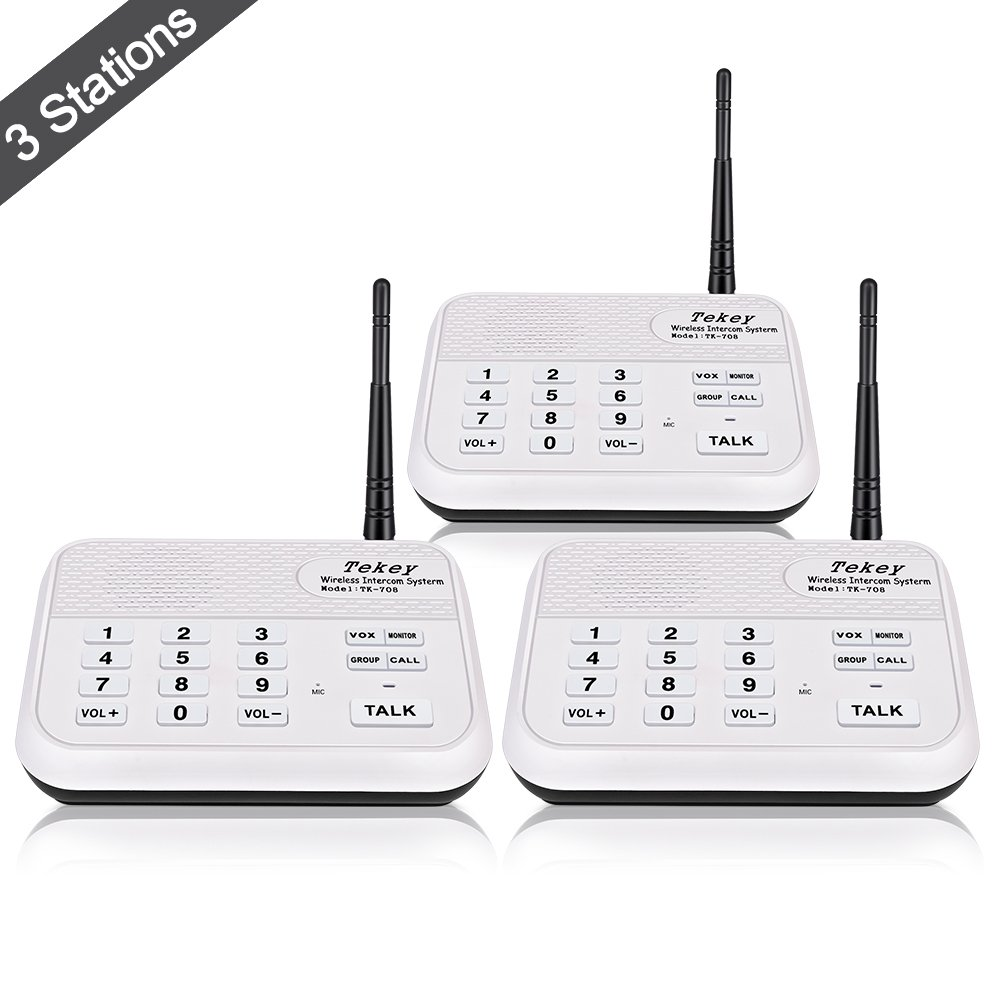 Wireless Intercom System (2017 Version), TekeyTBox 1800 Feet Long Range 10 Channel Digital FM Wireless Intercom System for Home and Office Walkie Talkie System for Outdoor Activities(3 Stations White)