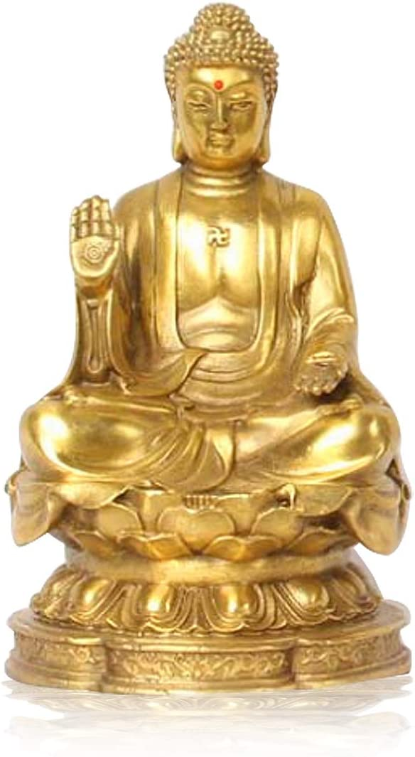 Feng Shui Lucky Buddha Statue Shakyamuni Buddha Figurine Handmade Brass Buddhist Statues and Sculptures for Home & Office Decor Feng Shui Products (Small)