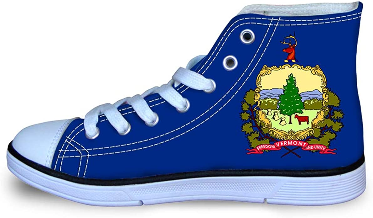 Canvas High Top Sneaker Casual Skate Shoe Boys Girls Green Mountain State Vermont Flag