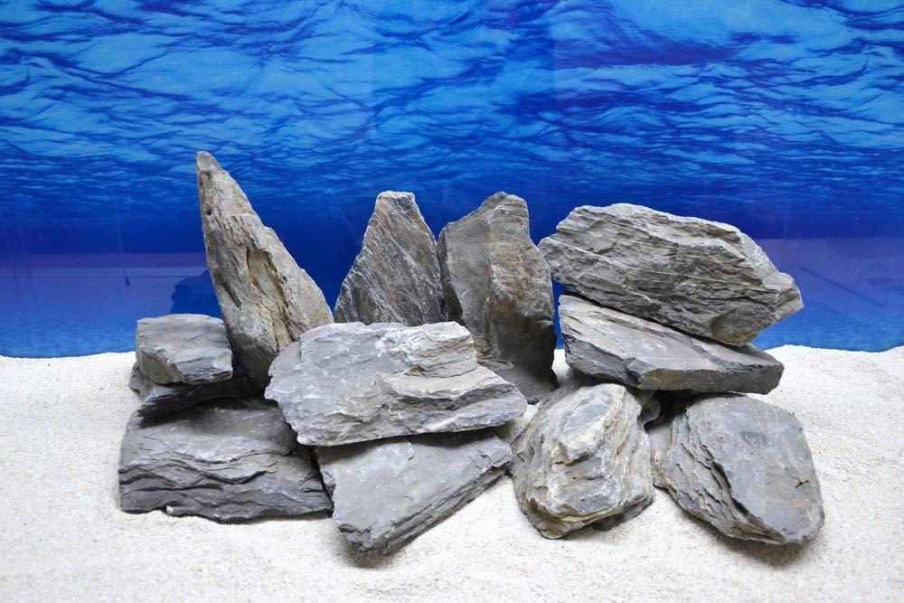 20 kg Original Natural Stones in Black with 13 Towels No 66 Decoration Aquarium Ornament Decoration Stone Back