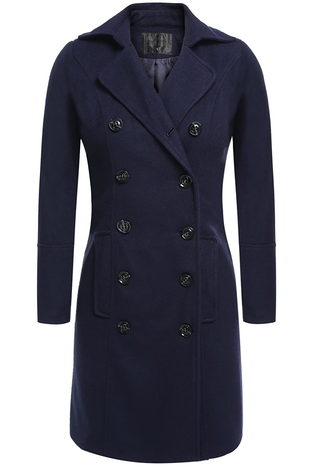 Long Trench Coat, Women's Elegant Double Breasted Slim Fit Winter Overcoat Outerwear
