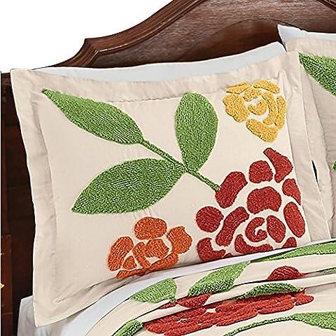 Reseda Large Flower Garden Pattern Chenille Pillow Sham in Yellow Orange Red Sage Green Colors - Sage Green Chenille