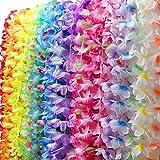 30 Counts Tropical Hawaiian Luau Flower Lei Party Favors (3 Dozen) Silk Flower Leis Bracelets Craft