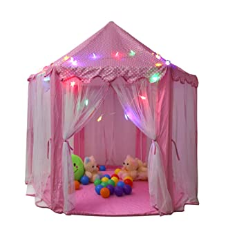TIENO Children Indoor Play Tent Princess Castle Playhouse For Kids With  Star Light