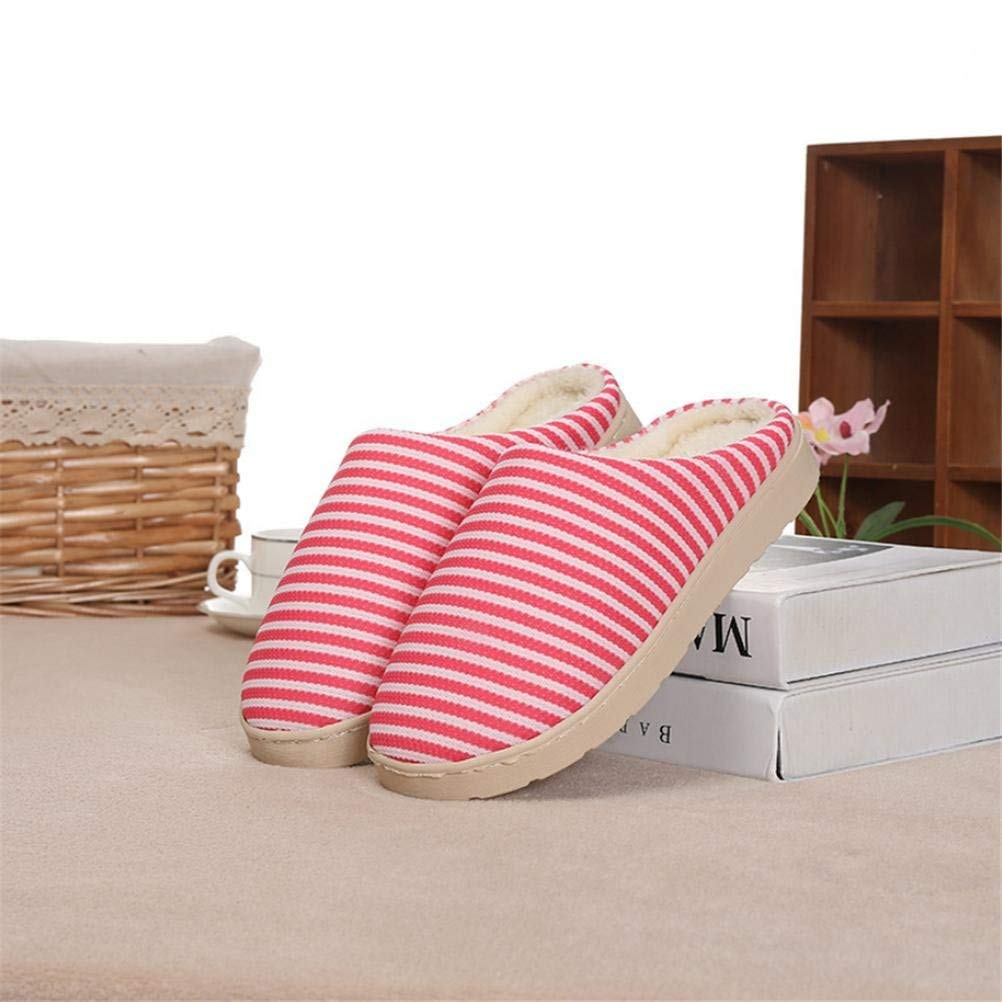 1 JaHGDU Women 's Home Cotton Stripe Slippers Indoor Red Keep Warm Casual Slippers Mixed color Personality Quality for Women