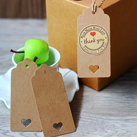 78e927316f75 Dproptel 4cm x 9cm Rectangular Vintage Kraft Paper Gift Tags With Lovely  Hollow Heart Wedding Party Favor Tags, Price Tag with 20m Jute Twine Long  for ...