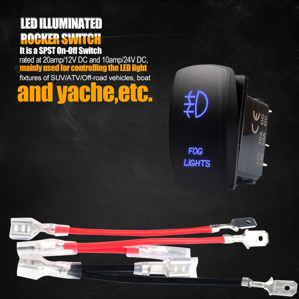 Terrain Vision Led Light Switch Off Road Lights Wiring Single Pole Throw Spst Rocker With Page Bar On Fog Jumper Wire 5 Pin 20 Amp 12v