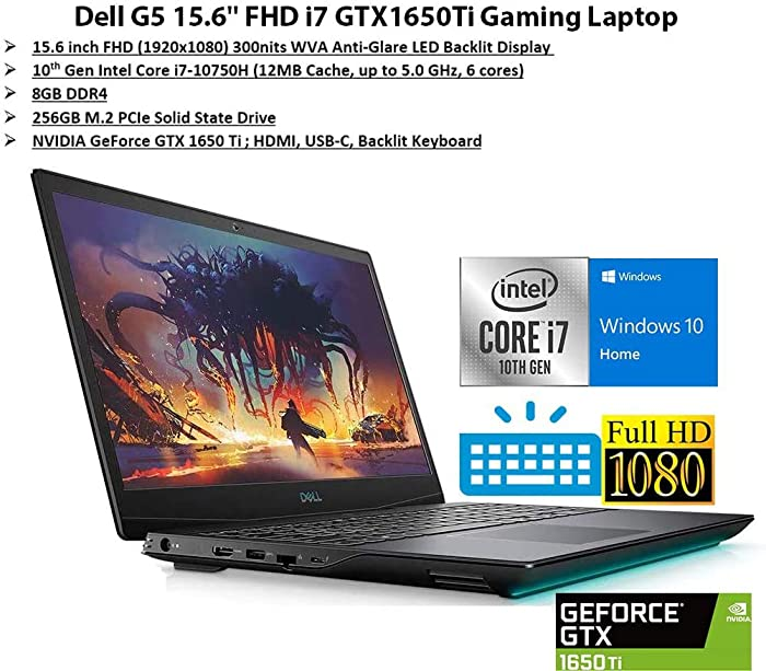"Newest Dell G5 15.6"" FHD Gaming Laptop, i7-10750H, Backlit Keyboard, Bluetooth, USB-C, HDMI, Mini DP, NVIDIA GeForce GTX 1650 Ti, Windows 10 Home, Black (8GB RAM 