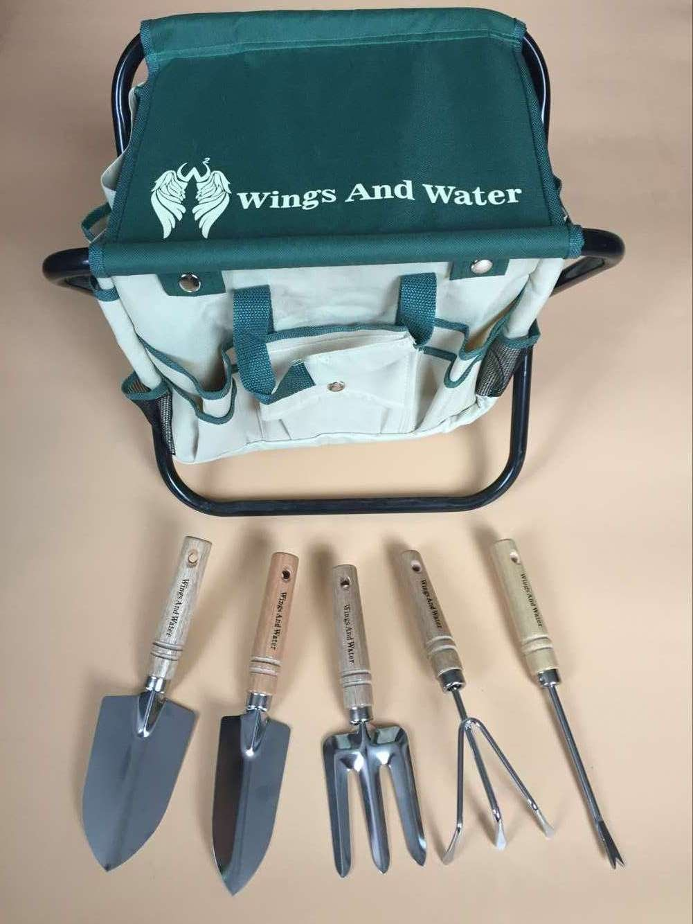 Wings and Water 7 Piece Garden Tool Set, All-In-One Tool Bag, Durable Folding Stool, Stainless Steel by Wings and Water (Image #9)
