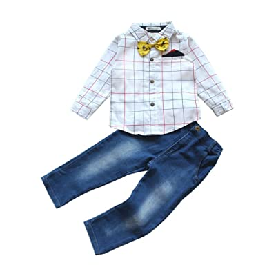 Abolai Cute Boys Clothing Set Plaid Woven Shirt+Demin Trousers