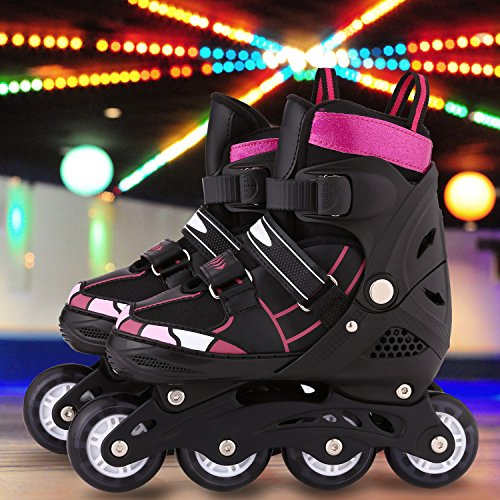 ANCHEER Kid Inline Skates Classic Adjustable Girls/Boys Size 12J- 8 Light Up wheels Removable Brake Indoor Outdoor Skating Fun Freestyle 1st Rollerblades Sports Tracer
