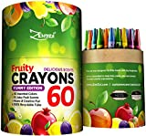 60 Crayons Box Colored Scented Crayon Bulk Pack - 10 Juicy Fruity Scents for Kids Toddlers to Color Draw - 60 Classic Wax Colors - FREE Extra Gift: Coloring E-Book Non Washable New Eco Supplies