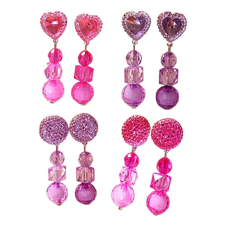 4 paires bébé bijoux oreille pinces cristal pendentif pour les filles parti semblant jeu jouet habiller ensemble, # 06