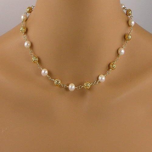 b723d76680efe Amazon.com: Gold Filigree Bead White Pearl Necklace: Handmade