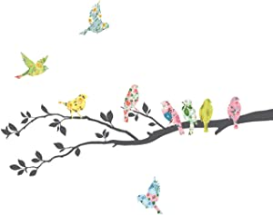 DECOWALL DA-1706 Floral Birds on Tree Kids Wall Stickers Wall Decals Peel and Stick Removable Wall Stickers for Kids Nursery Bedroom Living Room décor