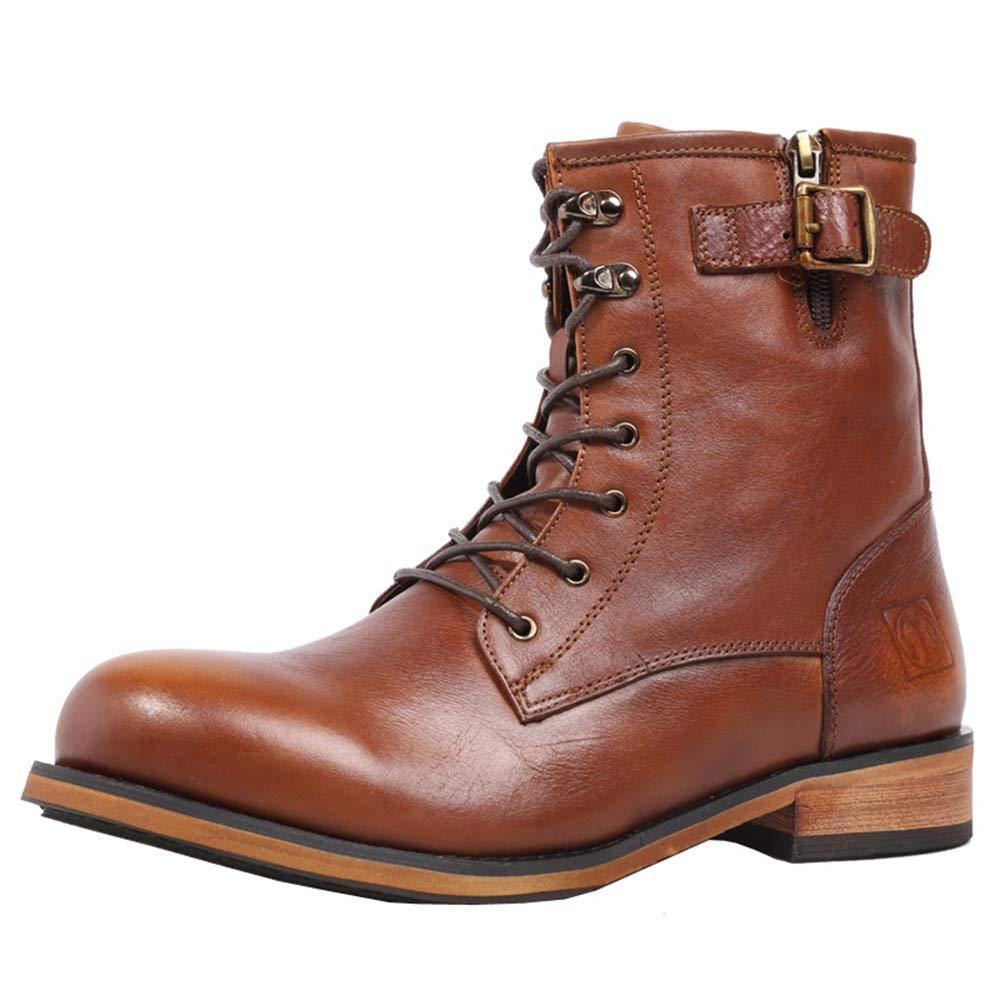 Qiusa Stiefeletten für Männer Echtes Leder Atmungsaktive Weiche Sohle Komfort Chukka Stiefel (Farbe   Braun, Größe   EU 41)