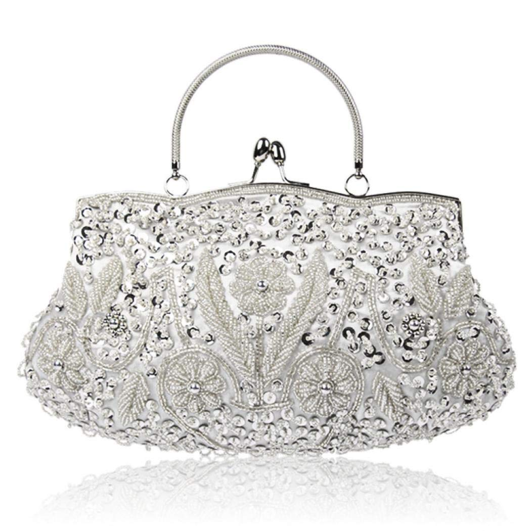 e158efe2a55c Vistatroy Vintage Style Beaded And Glass Beads Evening Bag Wedding Party  Handbag Clutch Purse for Women Female Formal Evening (Silver)
