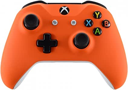 eXtremeRate Orange Soft Touch Front Housing Shell Case for Xbox One S/X Controller, Comfortable Replacement Kit Faceplate Cover for Xbox One Wireless Controller Model 1708 - Controller NOT Included