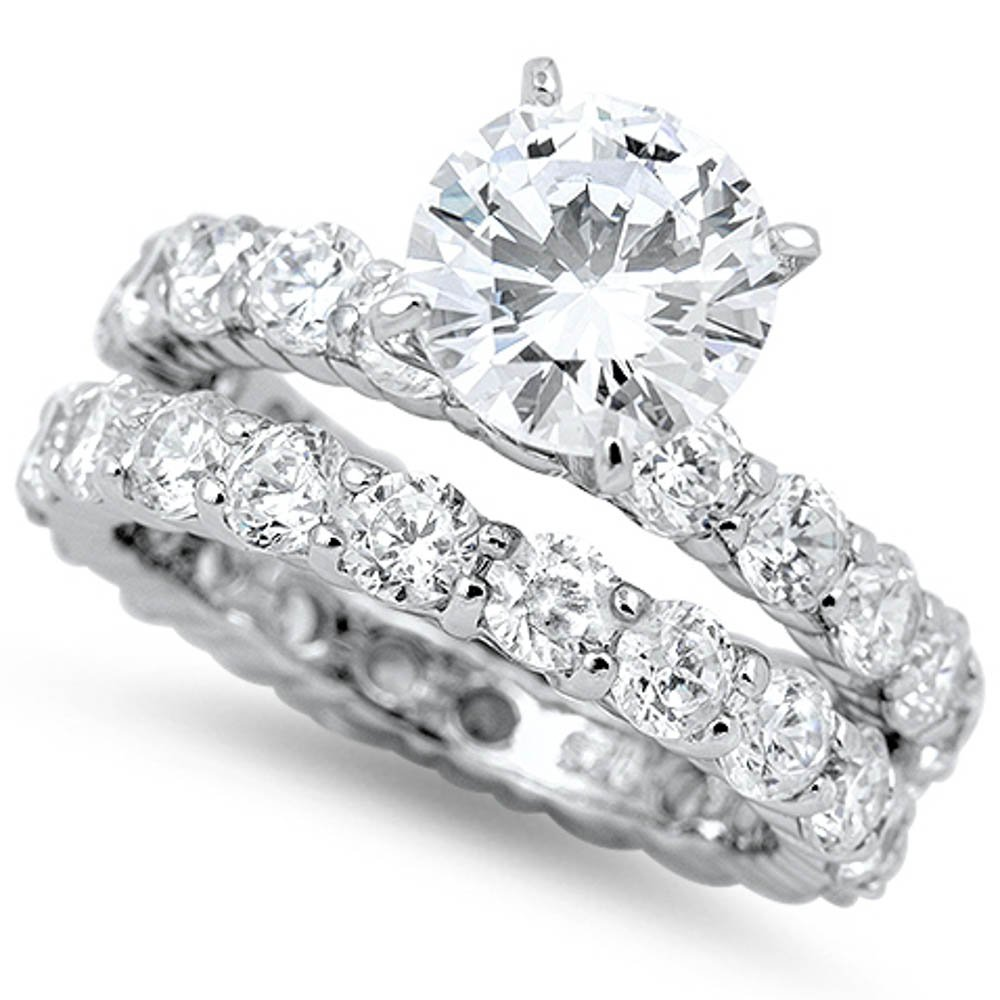 3Ct Round White Cz Eternity Engagement Ring Wedding Set .925 Sterling Silver Ring Size 8