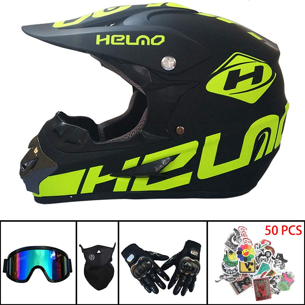 Mask and Gloves DOT Certification Professional Motocross Helmet Motocross Helmet Kids Motocross Helmet with Goggles Adult MX MTB Motorcycle Helmet Black shark,S