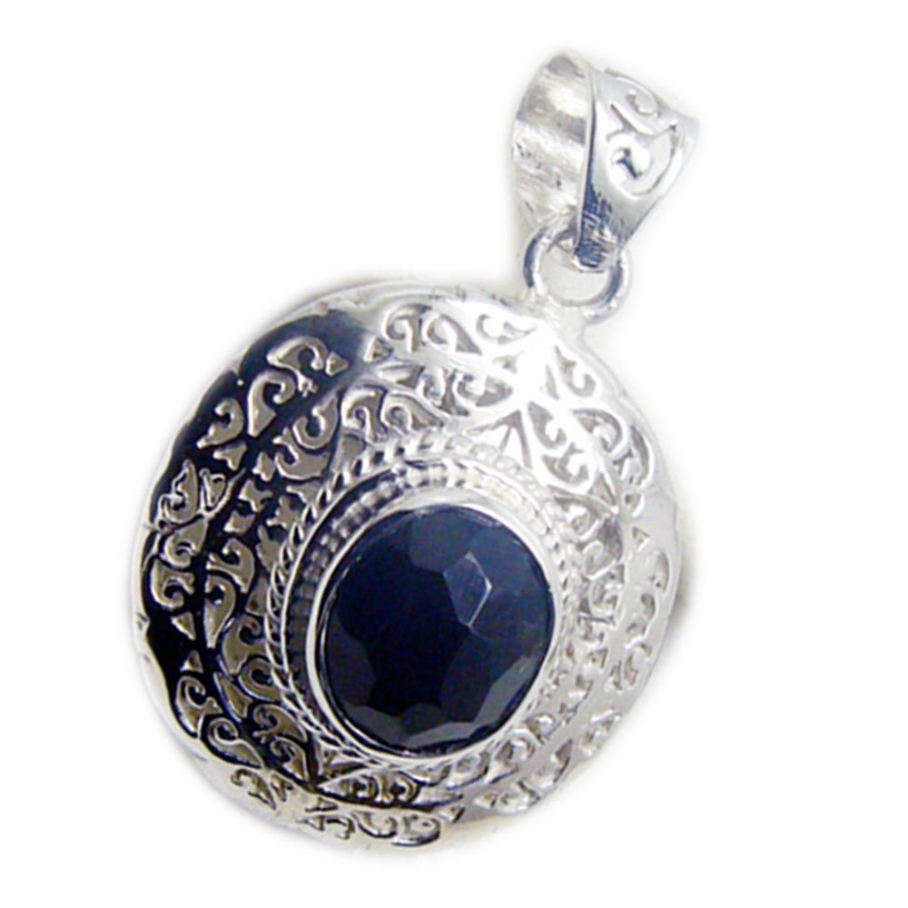 55Carat Natural Black Onyx 925 Sterling Silver Vintage Charms Pendant Chakra Healing Oval Shape Handmade Necklace