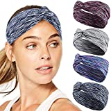 Workout Headbands for Women Men, TAIHA 4Pcs Sports Athletic Yoga Heandbands, Wide Wrap Sweatband Absorbing Moisture for...