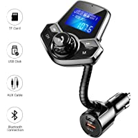 "Fm Transmitter Bluetooth, QC3.0 Fast Charge Bluetooth FM Transmitter for Car, Wireless Hands-Free Car Adapter with 1.44"" Display for AUX Input/Output, TF Card and U Disk by Ainope"