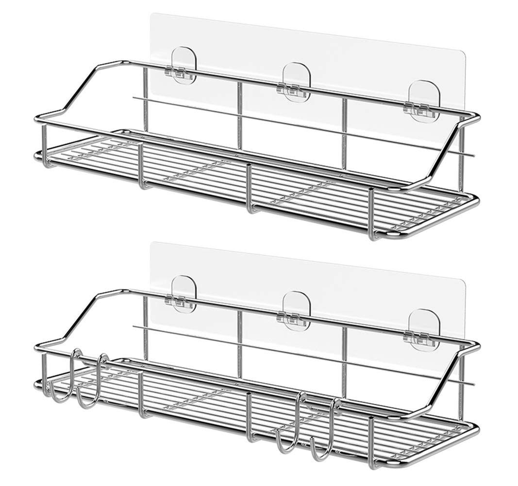 KESOL Adhesive Shower Caddy Shower Shelf Basket with Hooks, 304 Stainless Steel, 2 Pack by KESOL