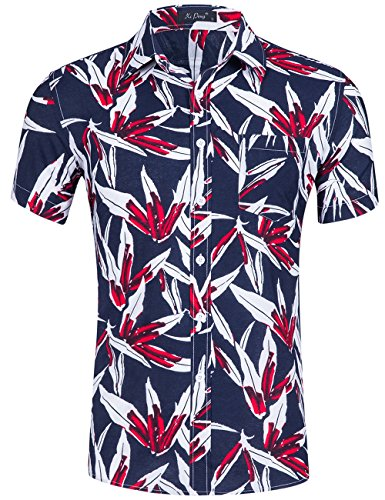 XI PENG Men's Tropical Short Sleeve Floral Print Beach Aloha Hawaiian Shirt (Red Navy Blue Bamboo Leaf, X-Large) -