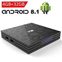 EASYTONE Android 8.1 TV Box with 4GB RAM 32GB ROM, 2018 New Android TV Box Quad Core/ 64 Bits/ BT4.0/ H.265/ 3D UHD 4K Full Loaded Smart Internet TV Box