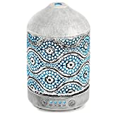 metal humidifier - Aromatherapy Essential Oil Diffuser Humidifier, Metal Aroma Oil Diffusers for Essential Oils, 4 Time Setting Mode and 7 Colors Light, Waterless Auto Shut-off for Home Office Baby Yoga