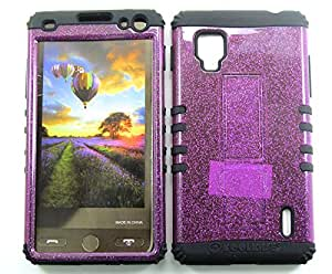 Cell-Attire Shockproof Hybrid Case For LG Optimus G, LS970 and Stylus Pen, Black Soft Rubber Skin with Hard Cover (Purple, Glitter) Sprint by runtopwell