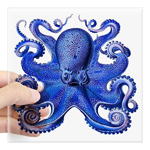 "CafePress Blue Octopus Square Sticker 3"" X 3 Square Bumper Sticker Car Decal, 3""x3"" (Small) 5""x5"" (Large)"