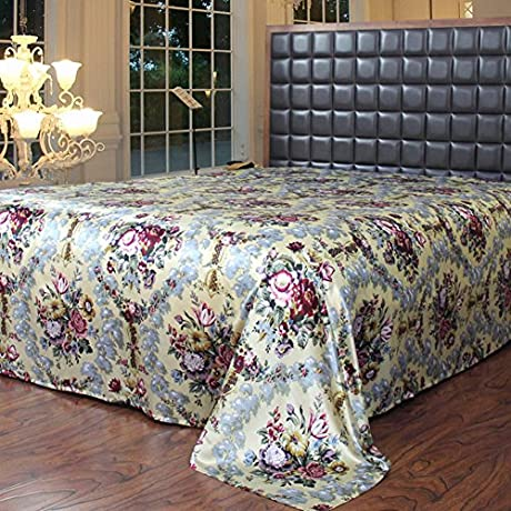 Reactive Printed Pure Silk Bed Linen Wide Silk Fabric Sheets L 280x330cm 110x130inch