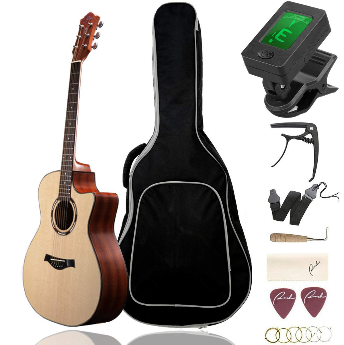 Beginner Acoustic Guitar Ranch 41'' Full Size Solid Wood Cutaway Beginners Steel String Guitars Kit Bundle with Gig Bag/Tuner/Capo/Strings/Strap/Picks Set Starter Pack for Adults (Grand Auditorium) by Ranch
