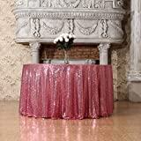 3e Home 50-Inch Round Sequin TableCloth for Party Cake Dessert Table Exhibition Events, Fuchsia Pink