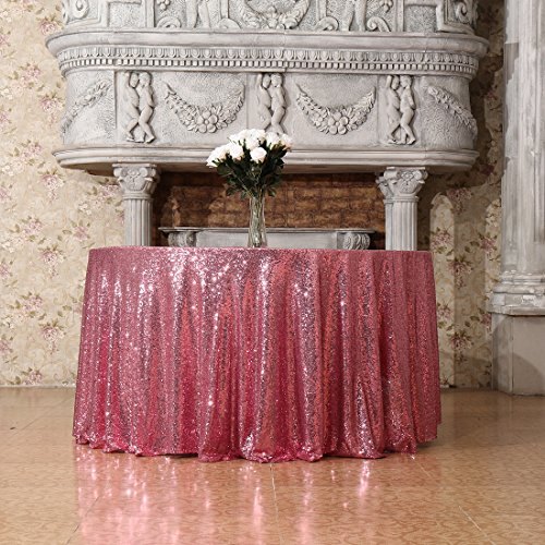 3E Home 90-Inch Round Sequin TableCloth for Party Cake Dessert Table Exhibition Events, Fuchsia Pink Shimmer Trees