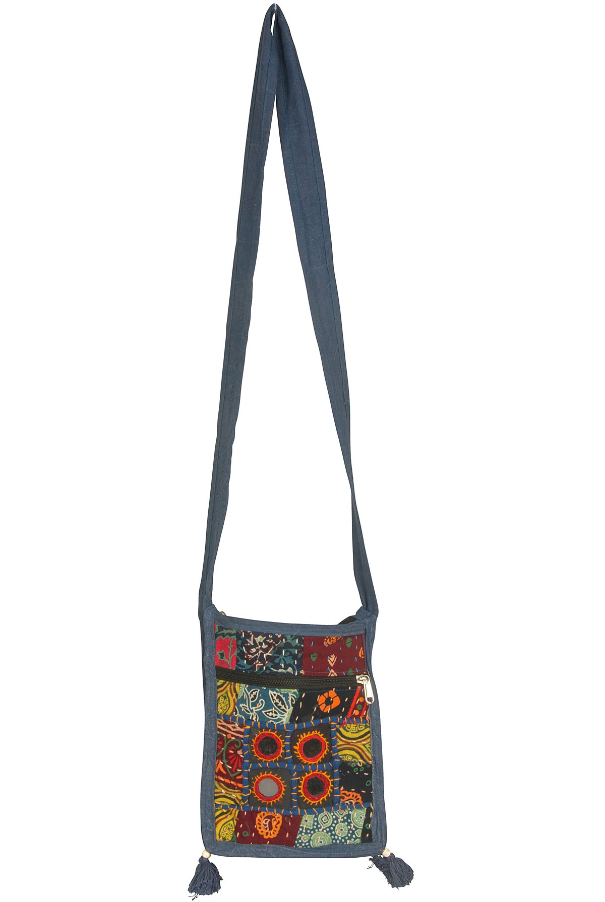 Small Messenger Crossbody Satchel Shoulder Bag Floral Purse Colorful Organizer Cellphone Ipad Hobo (Mirror Patchwork) by Tribe Azure Fair Trade (Image #4)