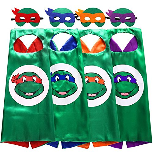 Teenage Mutant Ninja Turtles Halloween Costumes (Starkma Superhero Tmnt Cartoon Costume 4 Satin Cape with Felt Mask)