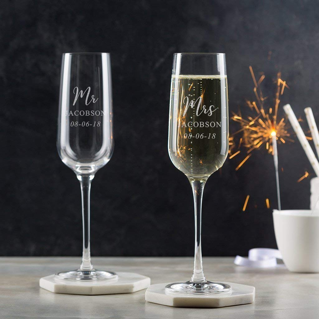 Wedding Anniversary. MR AND MRS Personalised Glass Champagne Flute Gift Set