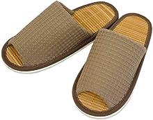 スリッパ メンズ 太ワッフル外縫い中竹 Lサイズ 約27cmまで 日本製 竹 夏 ゆったり ブラウン