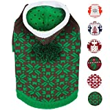 Blueberry Pet 6 Patterns Let It Snow Classic Ugly Christmas Holiday Snowflake Pullover Hoodie Dog Sweater in Green, Back Length 12'', Pack of 1 Clothes for Dogs