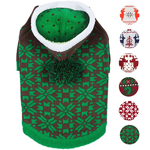 "Blueberry Pet 6 Patterns Let It Snow Classic Ugly Christmas Holiday Snowflake Pullover Hoodie Dog Sweater in Green, Back Length 10"", Pack of 1 Clothes for Dogs"