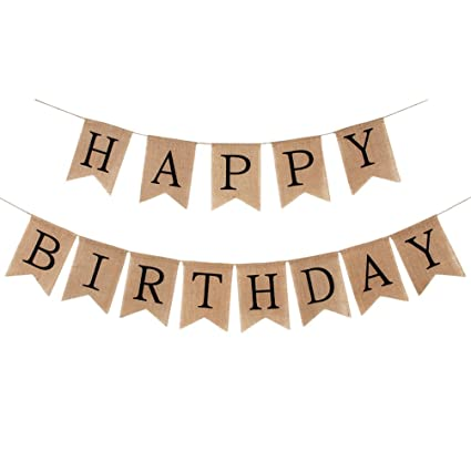 INNORU Burlap Happy Birthday Banner Rustic Party Bunting Banners