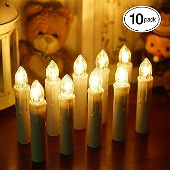 Lichterkette Weihnachtsbaum Kabellos.Samoleus 10 Stück Weihnachtskerzen Lichterkette Weihnachts Kerzen Kabellos Mit Fernbedienung Wasserdichte Christbaumkerzen Led Kerzenlichter