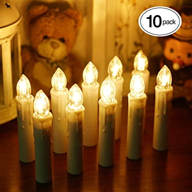 ShinePick 10er Set Led Kerzen, Weihnachtsbaum Kerzen, Weihnachtsbaum Lichterkette Batterie, Flackernde Flamme Fernbedienung T