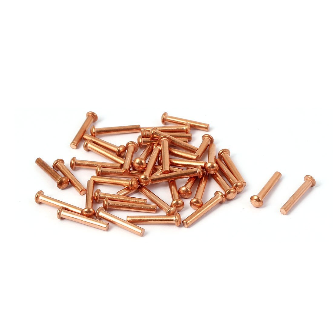 Uxcell a16041400ux0883 13mm Length 2mm x 12mm Round Head Copper Solid Rivets Fasteners Hardware 60 Pcs