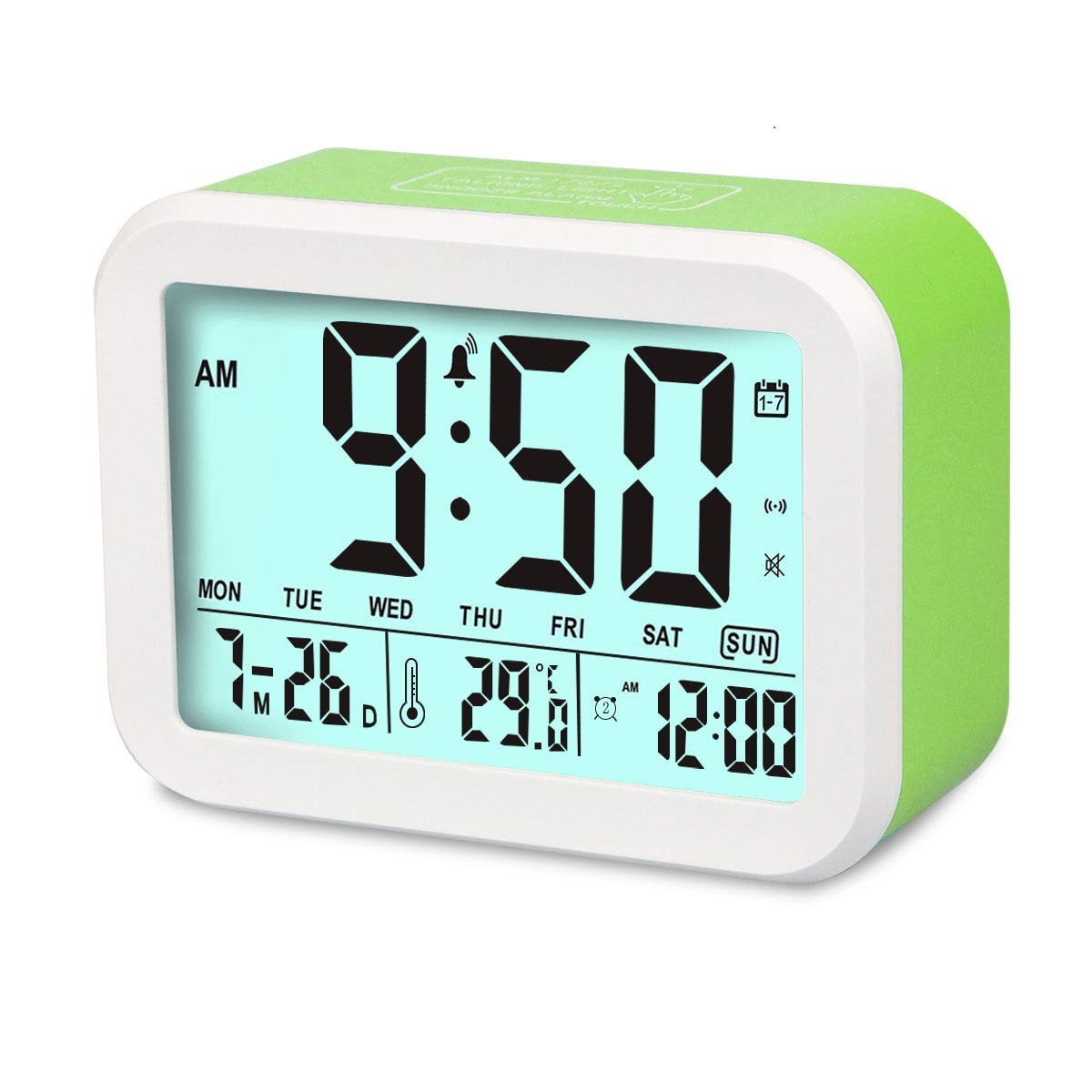 Aitey Digital Alarm Clock, Talking Clock with 3 Alarms, Optional Weekday Alarm, Intelligent Noctilucent & Snooze Function, Month Date & Temperature Display for Adults, Kids & Teens (Green)