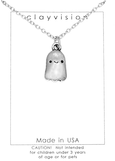 Amazon.com  Clayvision Happy Ghost Halloween Necklace with No ... c5b1e0f18e